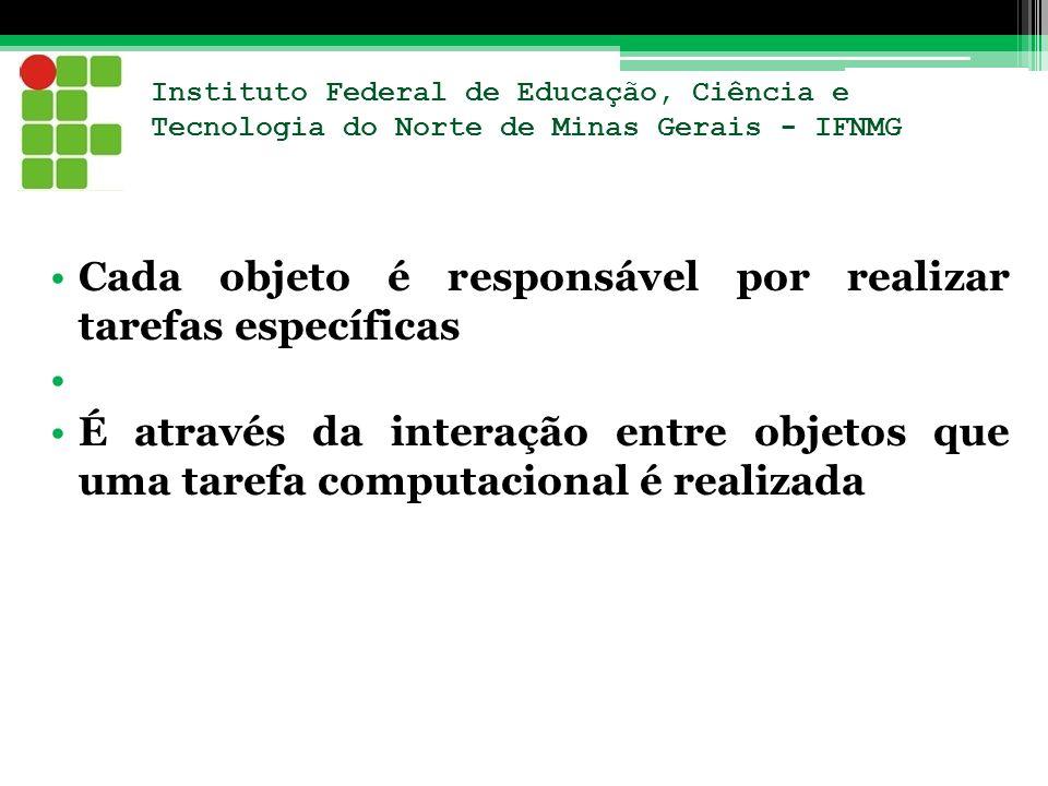 Instituto Federal de Educação, Ciência e Tecnologia do Norte de Minas Gerais - IFNMG Cada objeto é responsável por realizar tarefas específicas É atra