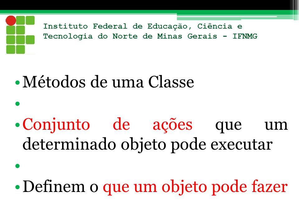 Instituto Federal de Educação, Ciência e Tecnologia do Norte de Minas Gerais - IFNMG Métodos de uma Classe Conjunto de ações que um determinado objeto