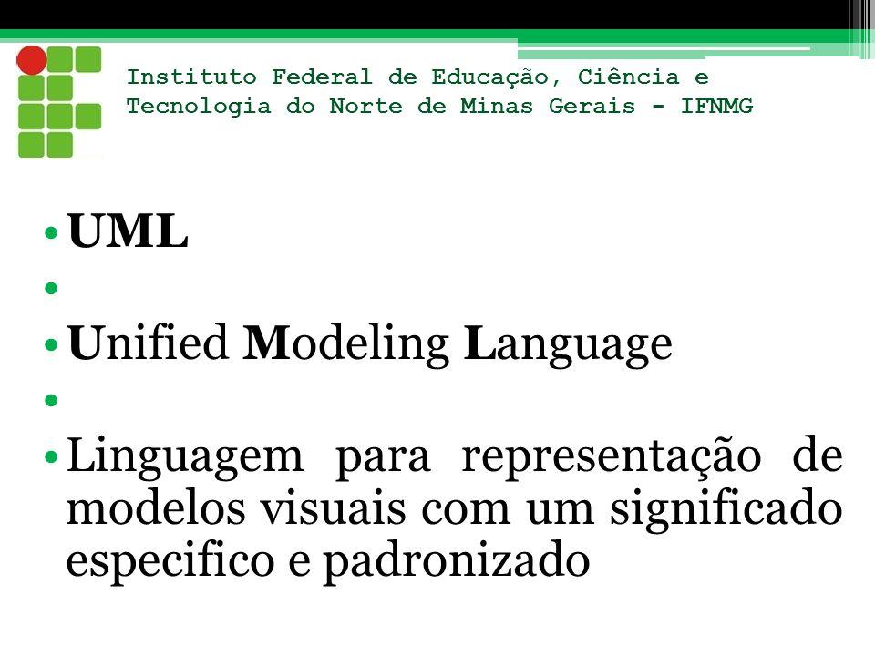 Instituto Federal de Educação, Ciência e Tecnologia do Norte de Minas Gerais - IFNMG UML Unified Modeling Language Linguagem para representação de mod