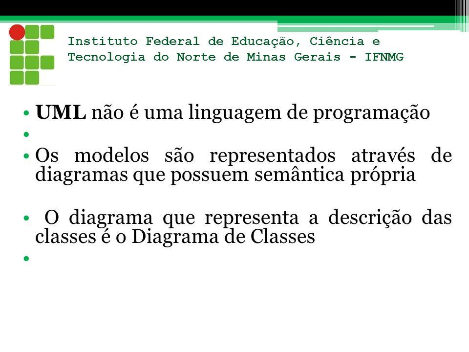 Instituto Federal de Educação, Ciência e Tecnologia do Norte de Minas Gerais - IFNMG UML não é uma linguagem de programação Os modelos são representad