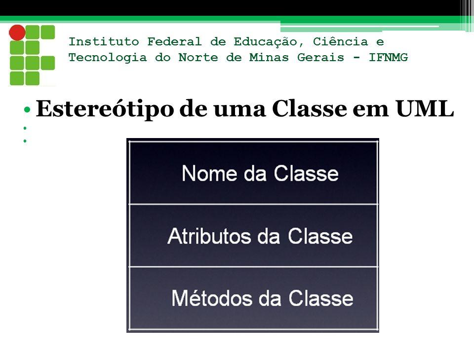 Instituto Federal de Educação, Ciência e Tecnologia do Norte de Minas Gerais - IFNMG Estereótipo de uma Classe em UML