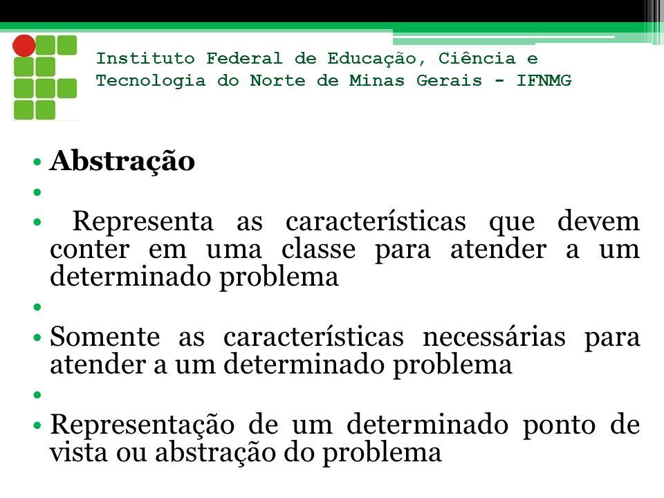 Abstração Representa as características que devem conter em uma classe para atender a um determinado problema Somente as características necessárias p
