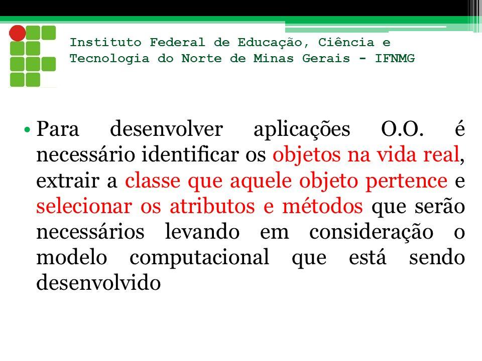 Instituto Federal de Educação, Ciência e Tecnologia do Norte de Minas Gerais - IFNMG Para desenvolver aplicações O.O. é necessário identificar os obje