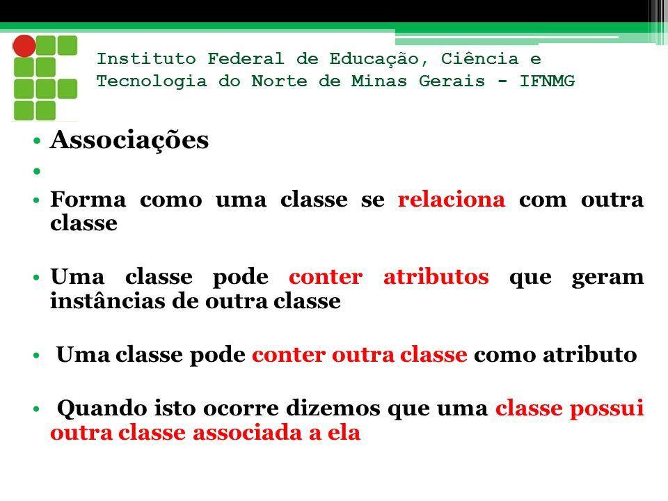 Instituto Federal de Educação, Ciência e Tecnologia do Norte de Minas Gerais - IFNMG Associações Forma como uma classe se relaciona com outra classe U