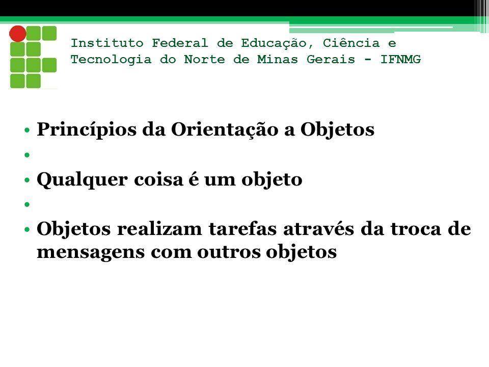 Instituto Federal de Educação, Ciência e Tecnologia do Norte de Minas Gerais - IFNMG Princípios da Orientação a Objetos Qualquer coisa é um objeto Obj