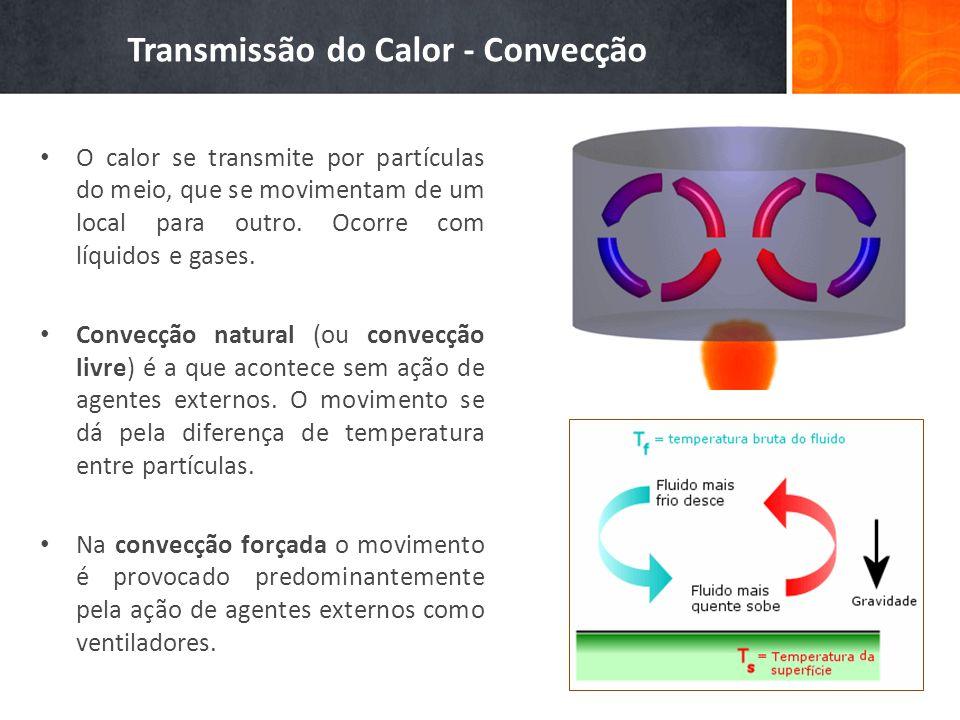 O calor se transmite por partículas do meio, que se movimentam de um local para outro. Ocorre com líquidos e gases. Convecção natural (ou convecção li
