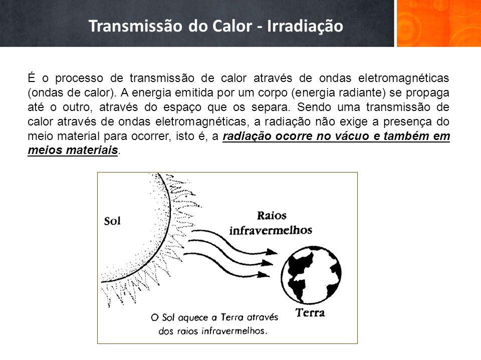 Transmissão do Calor - Irradiação É o processo de transmissão de calor através de ondas eletromagnéticas (ondas de calor). A energia emitida por um co