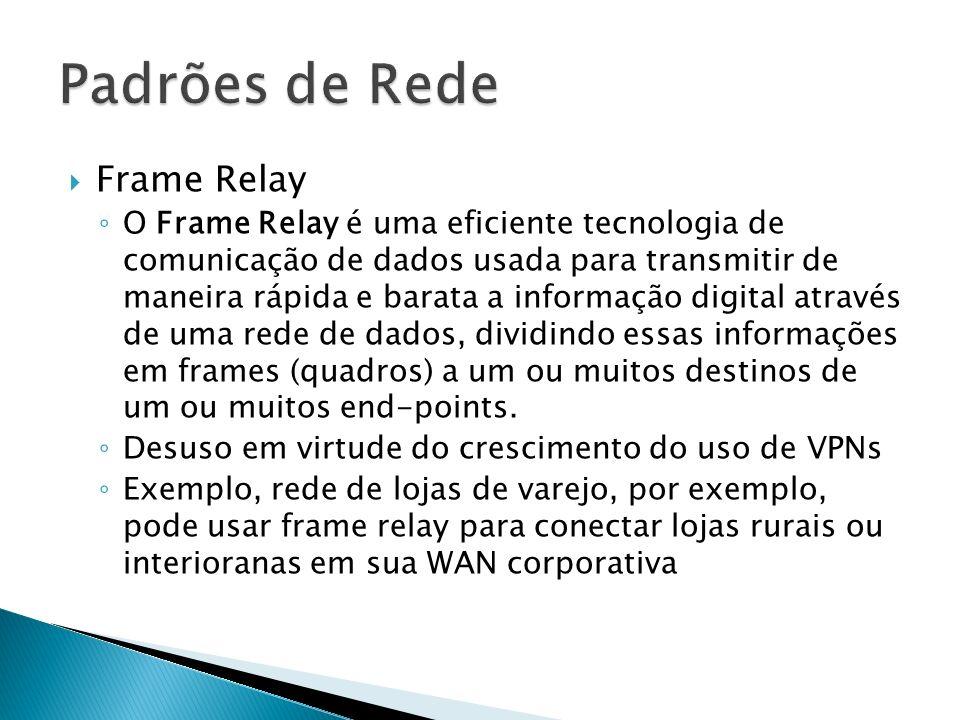 Frame Relay O Frame Relay é uma eficiente tecnologia de comunicação de dados usada para transmitir de maneira rápida e barata a informação digital através de uma rede de dados, dividindo essas informações em frames (quadros) a um ou muitos destinos de um ou muitos end-points.