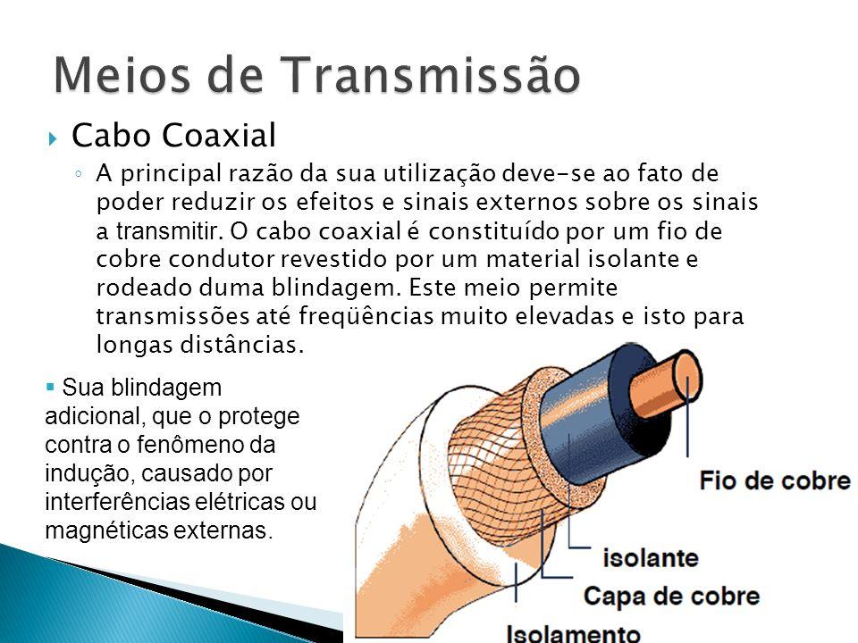 Cabo Coaxial A principal razão da sua utilização deve-se ao fato de poder reduzir os efeitos e sinais externos sobre os sinais a transmitir.