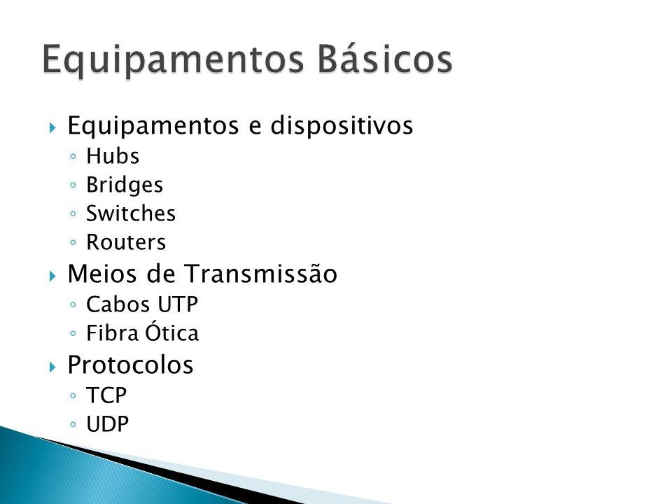 Equipamentos e dispositivos Hubs Bridges Switches Routers Meios de Transmissão Cabos UTP Fibra Ótica Protocolos TCP UDP