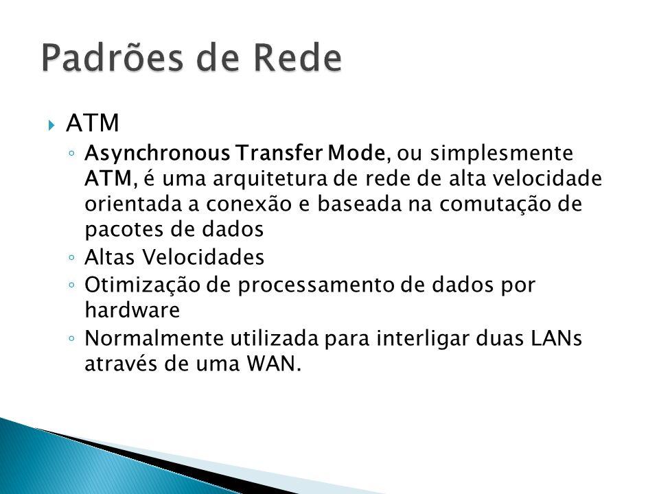 ATM Asynchronous Transfer Mode, ou simplesmente ATM, é uma arquitetura de rede de alta velocidade orientada a conexão e baseada na comutação de pacotes de dados Altas Velocidades Otimização de processamento de dados por hardware Normalmente utilizada para interligar duas LANs através de uma WAN.