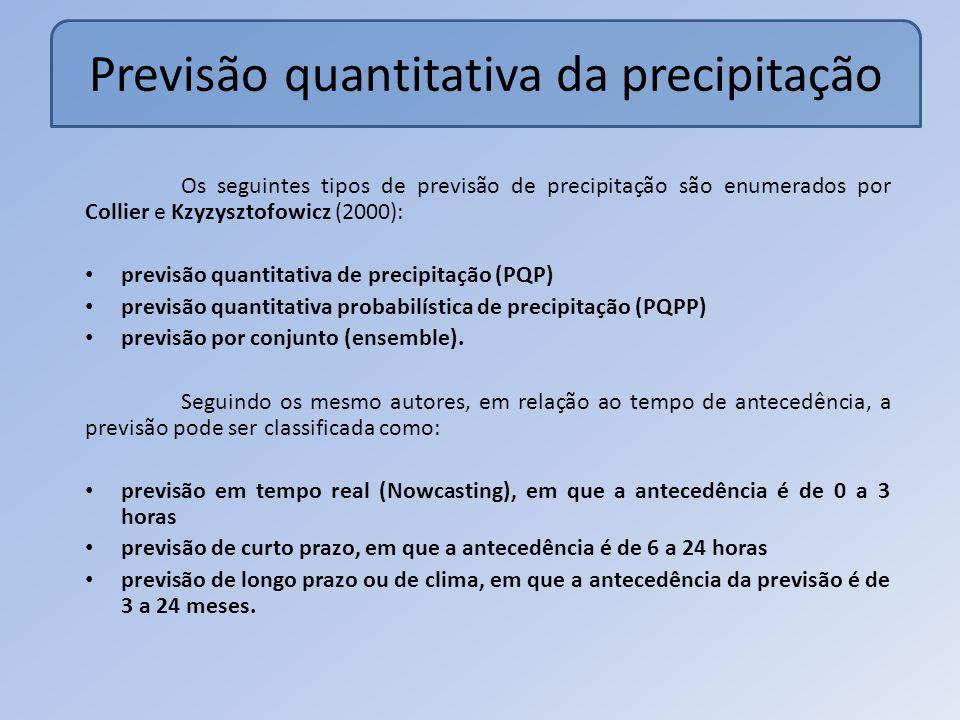 Previsão quantitativa da precipitação Os seguintes tipos de previsão de precipitação são enumerados por Collier e Kzyzysztofowicz (2000): previsão quantitativa de precipitação (PQP) previsão quantitativa probabilística de precipitação (PQPP) previsão por conjunto (ensemble).