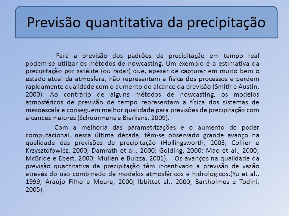 Previsão quantitativa da precipitação Para a previsão dos padrões da precipitação em tempo real podemse utilizar os métodos de nowcasting.