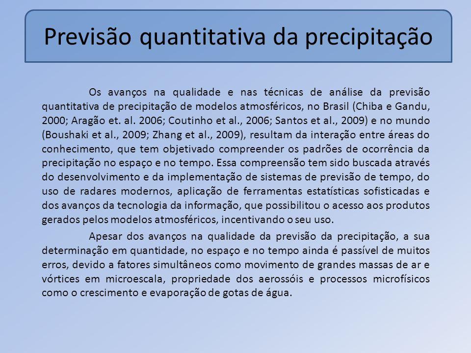 Previsão quantitativa da precipitação Os avanços na qualidade e nas técnicas de análise da previsão quantitativa de precipitação de modelos atmosféricos, no Brasil (Chiba e Gandu, 2000; Aragão et.