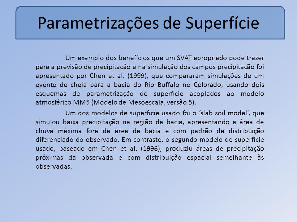 Parametrizações de Superfície Um exemplo dos benefícios que um SVAT apropriado pode trazer para a previsão de precipitação e na simulação dos campos precipitação foi apresentado por Chen et al.