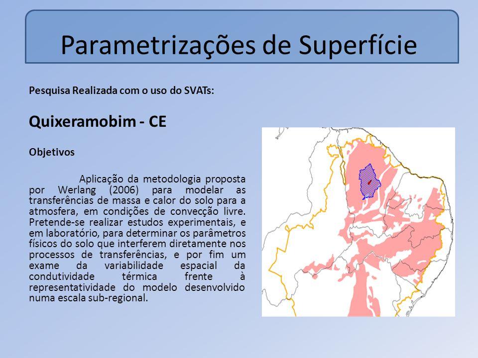 Parametrizações de Superfície Pesquisa Realizada com o uso do SVATs: Quixeramobim - CE Objetivos Aplicação da metodologia proposta por Werlang (2006) para modelar as transferências de massa e calor do solo para a atmosfera, em condições de convecção livre.