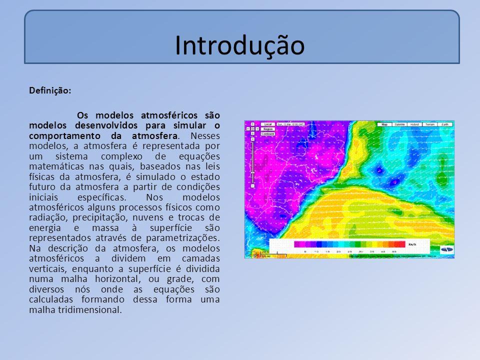 Introdução Definição: Os modelos atmosféricos são modelos desenvolvidos para simular o comportamento da atmosfera.