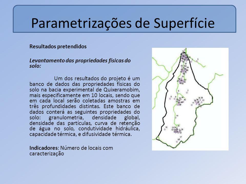 Parametrizações de Superfície Resultados pretendidos Levantamento das propriedades físicas do solo: Um dos resultados do projeto é um banco de dados das propriedades físicas do solo na bacia experimental de Quixeramobim, mais especificamente em 10 locais, sendo que em cada local serão coletadas amostras em três profundidades distintas.