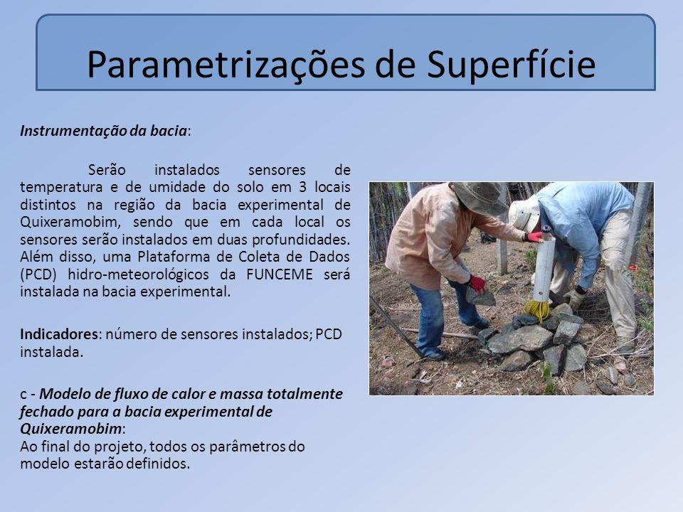 Parametrizações de Superfície Instrumentação da bacia: Serão instalados sensores de temperatura e de umidade do solo em 3 locais distintos na região da bacia experimental de Quixeramobim, sendo que em cada local os sensores serão instalados em duas profundidades.
