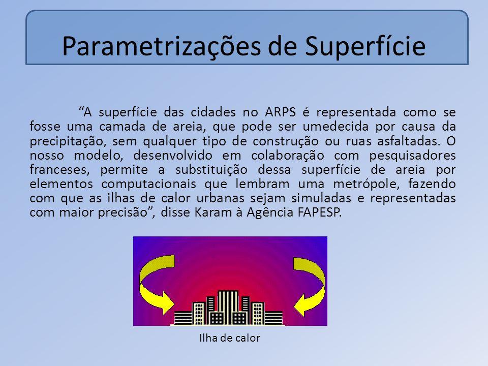 Parametrizações de Superfície A superfície das cidades no ARPS é representada como se fosse uma camada de areia, que pode ser umedecida por causa da precipitação, sem qualquer tipo de construção ou ruas asfaltadas.