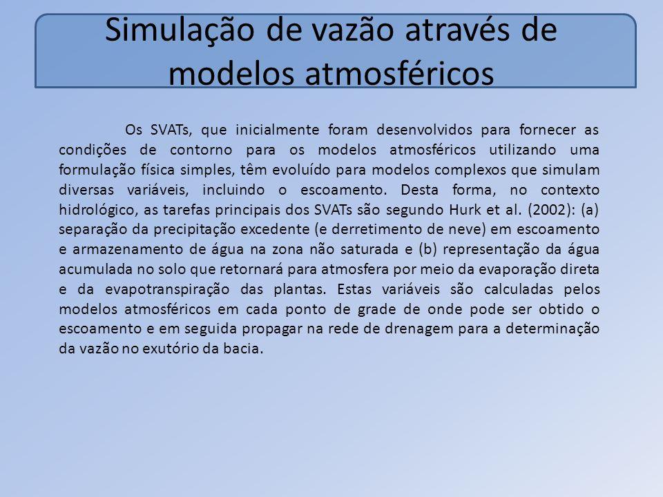 Simulação de vazão através de modelos atmosféricos Os SVATs, que inicialmente foram desenvolvidos para fornecer as condições de contorno para os modelos atmosféricos utilizando uma formulação física simples, têm evoluído para modelos complexos que simulam diversas variáveis, incluindo o escoamento.