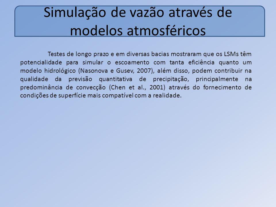 Simulação de vazão através de modelos atmosféricos Testes de longo prazo e em diversas bacias mostraram que os LSMs têm potencialidade para simular o escoamento com tanta eficiência quanto um modelo hidrológico (Nasonova e Gusev, 2007), além disso, podem contribuir na qualidade da previsão quantitativa de precipitação, principalmente na predominância de convecção (Chen et al., 2001) através do fornecimento de condições de superfície mais compatível com a realidade.