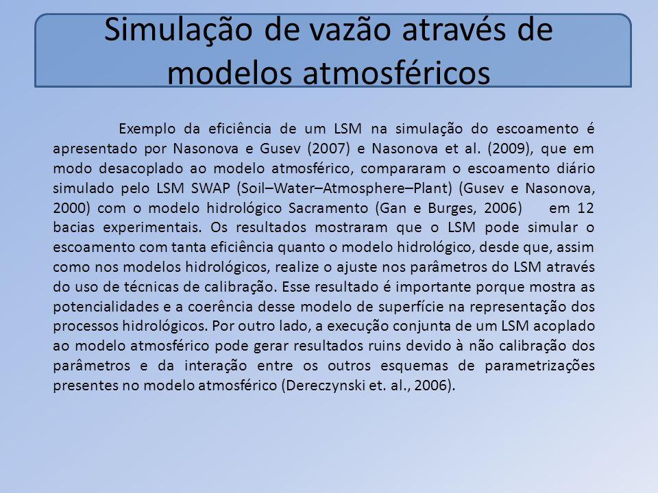 Simulação de vazão através de modelos atmosféricos Exemplo da eficiência de um LSM na simulação do escoamento é apresentado por Nasonova e Gusev (2007) e Nasonova et al.