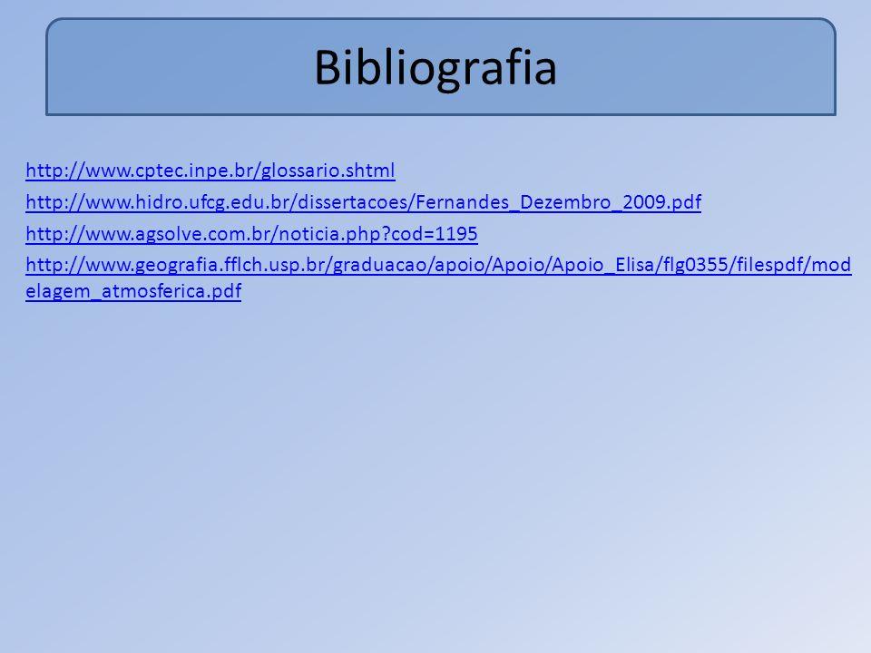 Bibliografia http://www.cptec.inpe.br/glossario.shtml http://www.hidro.ufcg.edu.br/dissertacoes/Fernandes_Dezembro_2009.pdf http://www.agsolve.com.br/noticia.php?cod=1195 http://www.geografia.fflch.usp.br/graduacao/apoio/Apoio/Apoio_Elisa/flg0355/filespdf/mod elagem_atmosferica.pdf