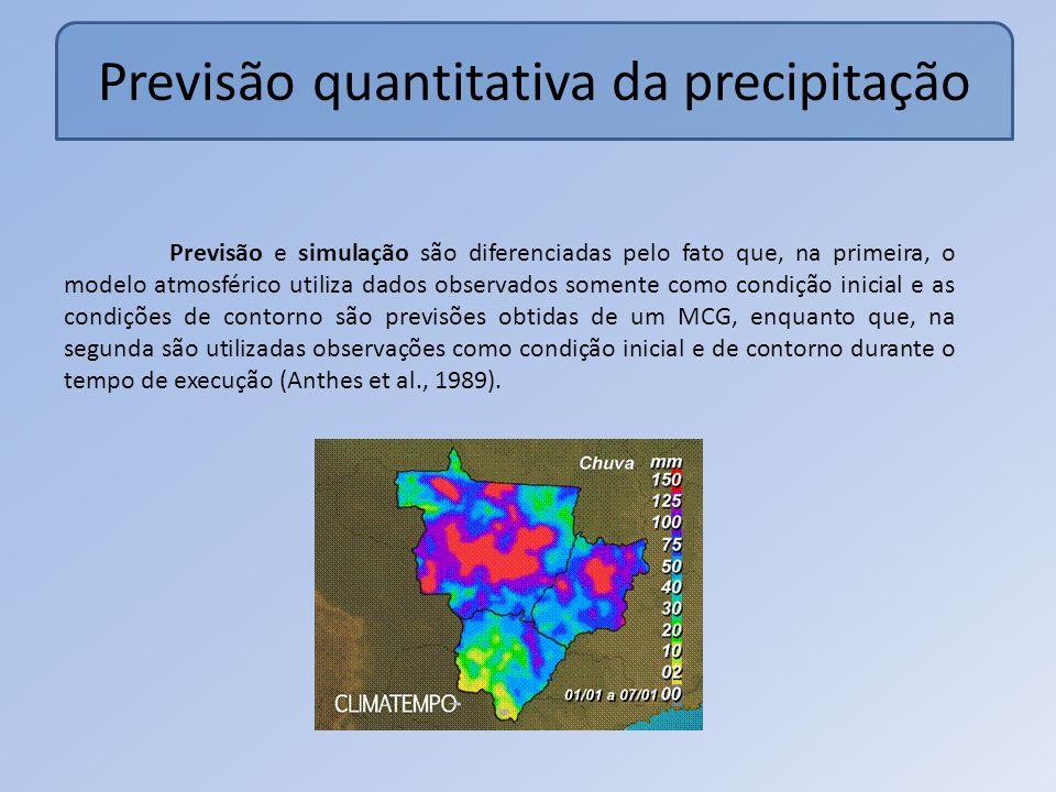 Previsão quantitativa da precipitação Previsão e simulação são diferenciadas pelo fato que, na primeira, o modelo atmosférico utiliza dados observados somente como condição inicial e as condições de contorno são previsões obtidas de um MCG, enquanto que, na segunda são utilizadas observações como condição inicial e de contorno durante o tempo de execução (Anthes et al., 1989).