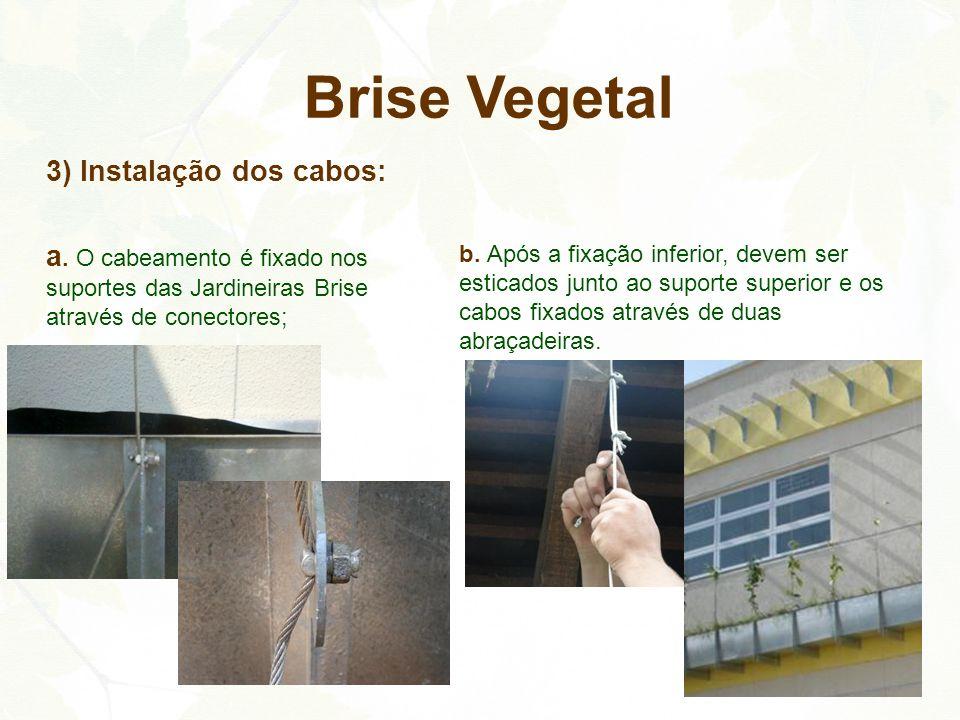 3) Instalação dos cabos: a. O cabeamento é fixado nos suportes das Jardineiras Brise através de conectores; Brise Vegetal b. Após a fixação inferior,