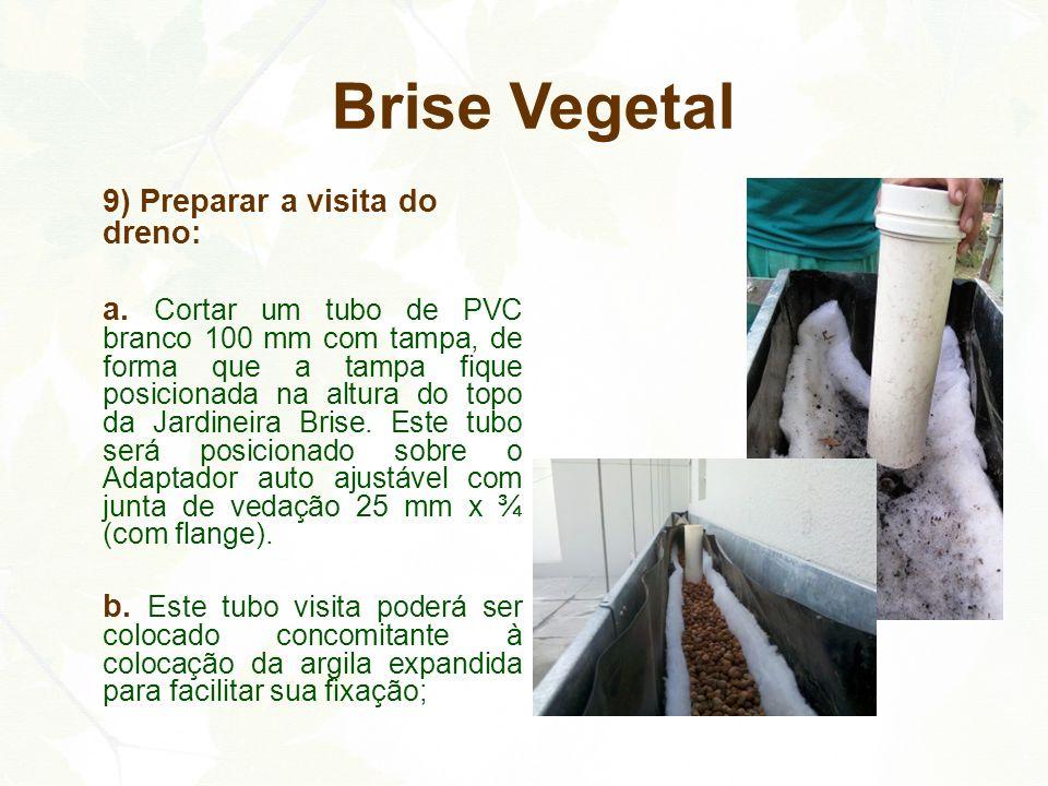 9) Preparar a visita do dreno: a. Cortar um tubo de PVC branco 100 mm com tampa, de forma que a tampa fique posicionada na altura do topo da Jardineir