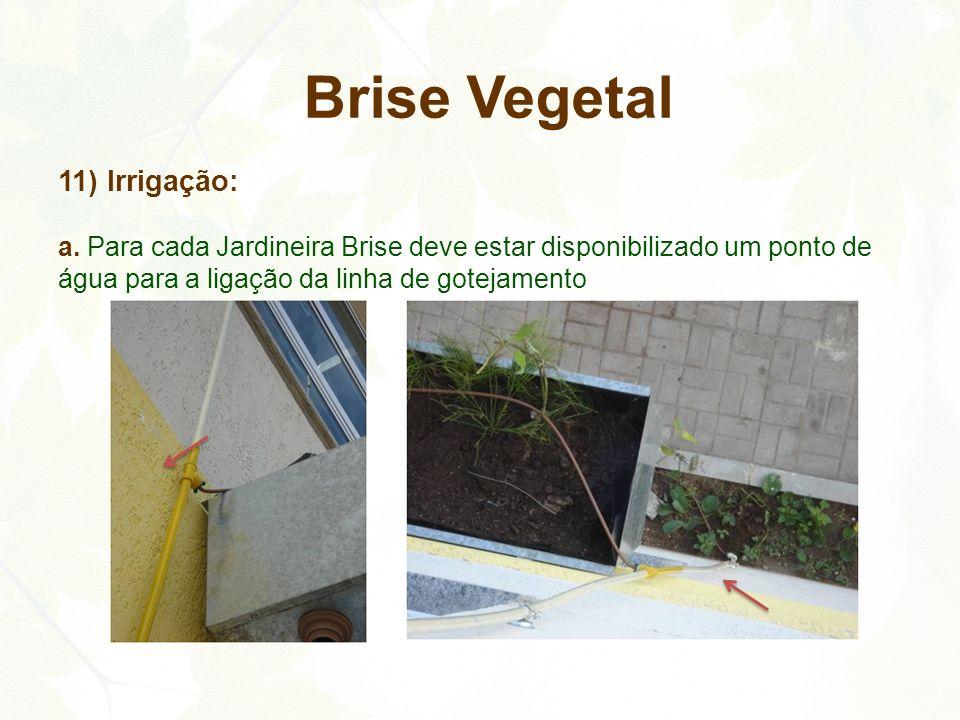 11) Irrigação: a. Para cada Jardineira Brise deve estar disponibilizado um ponto de água para a ligação da linha de gotejamento Brise Vegetal