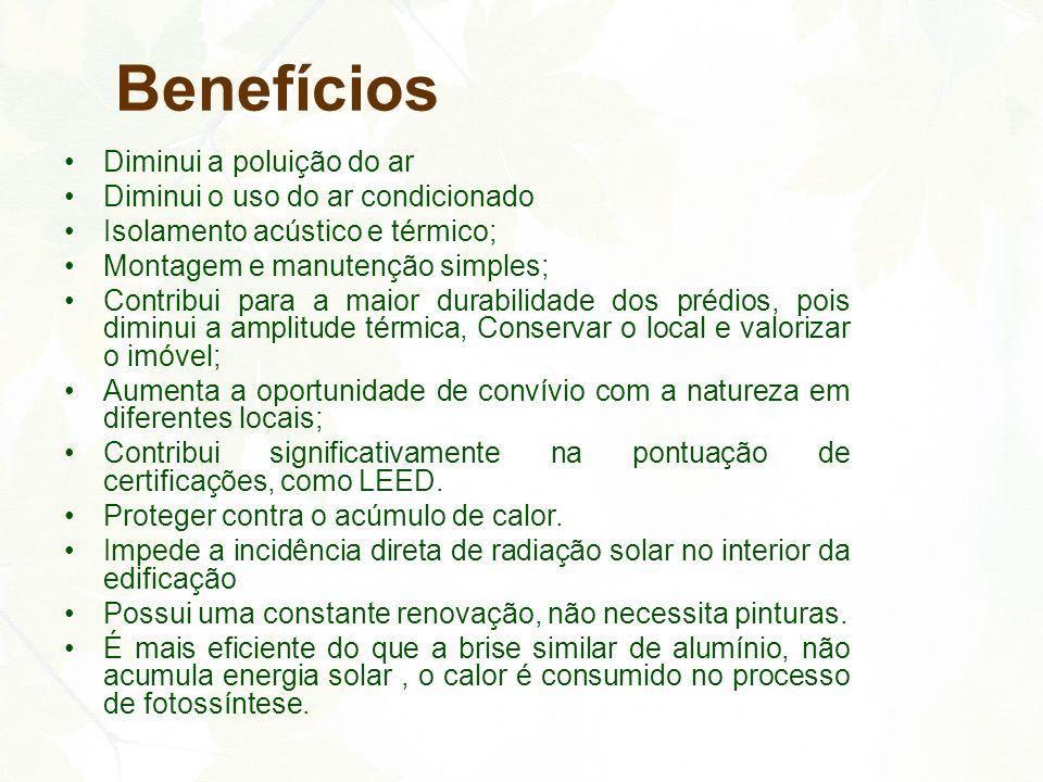 Benefícios Diminui a poluição do ar Diminui o uso do ar condicionado Isolamento acústico e térmico; Montagem e manutenção simples; Contribui para a ma