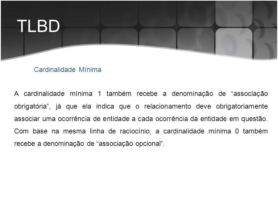 TLBD A cardinalidade mínima 1 também recebe a denominação de associação obrigatória, já que ela indica que o relacionamento deve obrigatoriamente asso