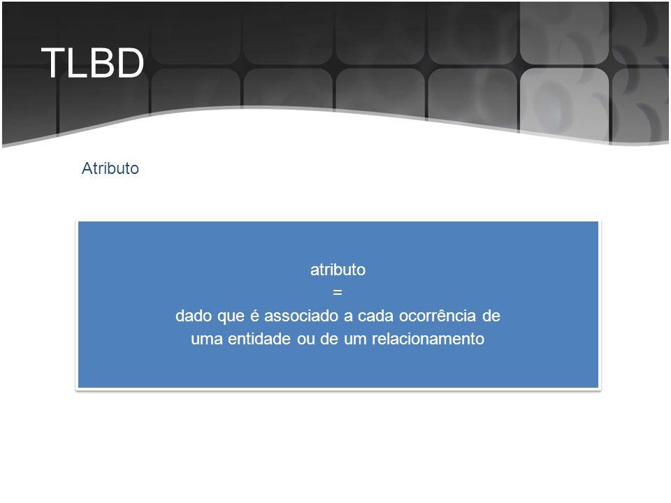 TLBD Atributo atributo = dado que é associado a cada ocorrência de uma entidade ou de um relacionamento atributo = dado que é associado a cada ocorrên