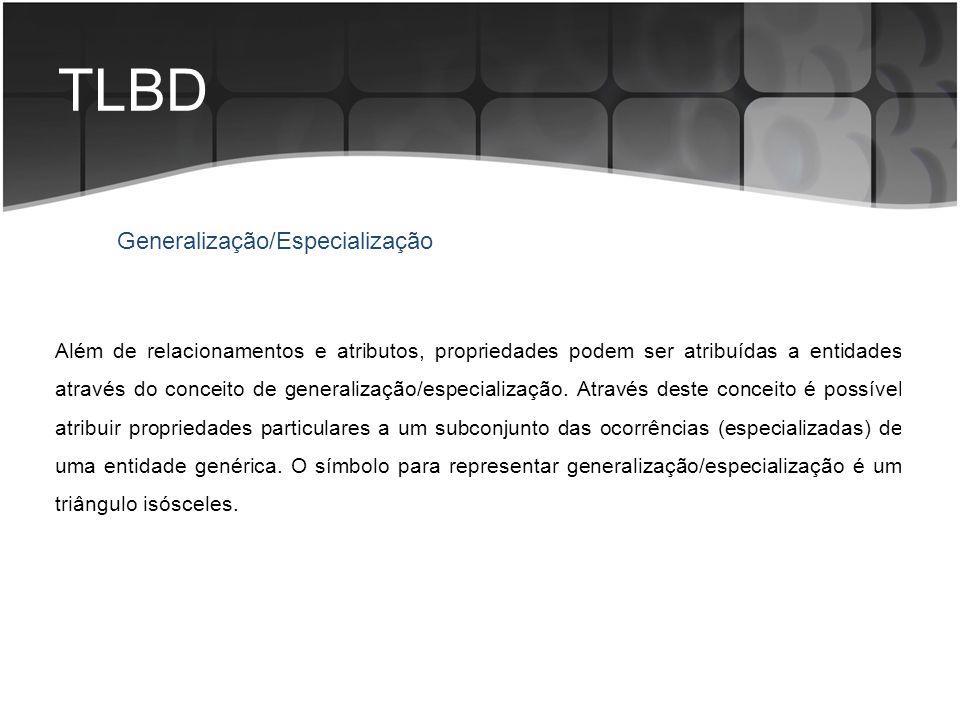 TLBD Generalização/Especialização Além de relacionamentos e atributos, propriedades podem ser atribuídas a entidades através do conceito de generaliza