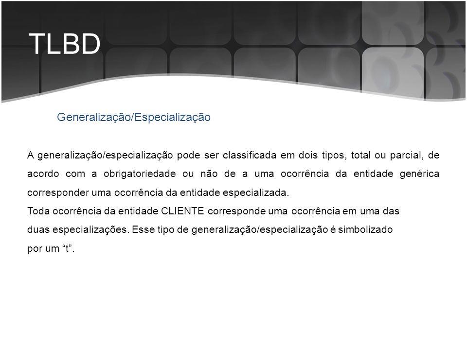 TLBD Generalização/Especialização A generalização/especialização pode ser classificada em dois tipos, total ou parcial, de acordo com a obrigatoriedad
