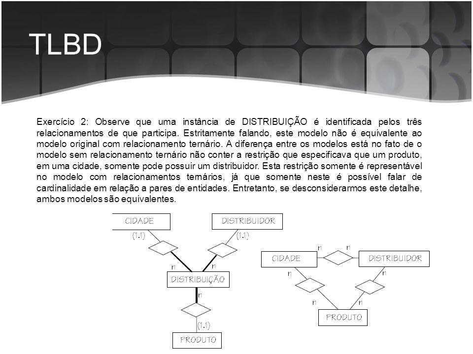 TLBD Exercício 2: Observe que uma instância de DISTRIBUIÇÃO é identificada pelos três relacionamentos de que participa. Estritamente falando, este mod