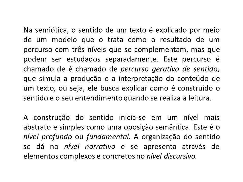 Na semiótica, o sentido de um texto é explicado por meio de um modelo que o trata como o resultado de um percurso com três níveis que se complementam,
