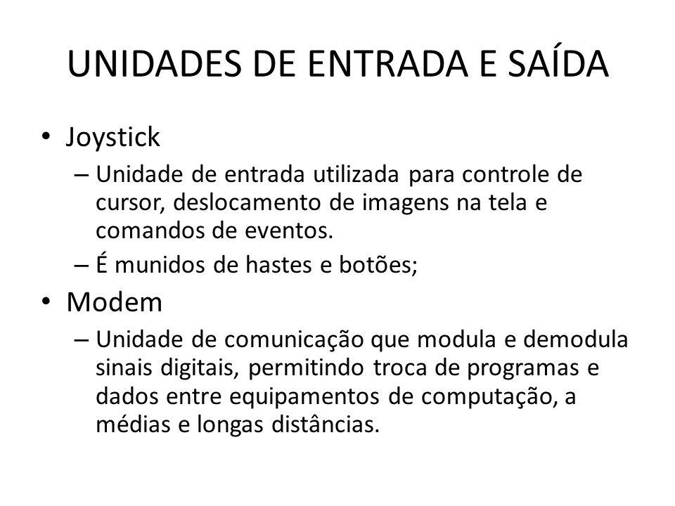 UNIDADES DE ENTRADA E SAÍDA Joystick – Unidade de entrada utilizada para controle de cursor, deslocamento de imagens na tela e comandos de eventos.
