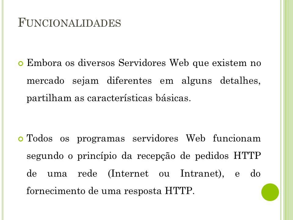 F UNCIONALIDADES Embora os diversos Servidores Web que existem no mercado sejam diferentes em alguns detalhes, partilham as características básicas. T