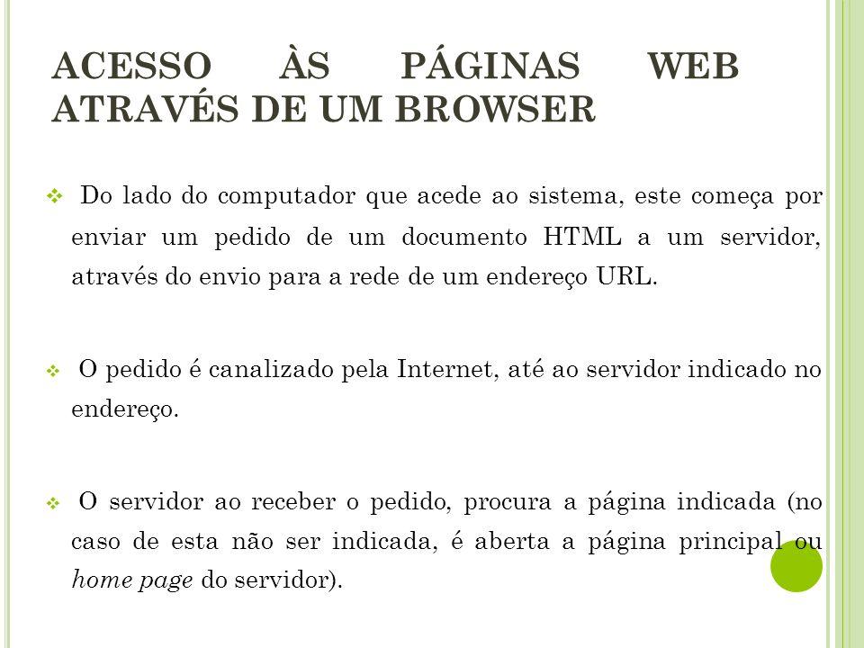 Do lado do computador que acede ao sistema, este começa por enviar um pedido de um documento HTML a um servidor, através do envio para a rede de um endereço URL.