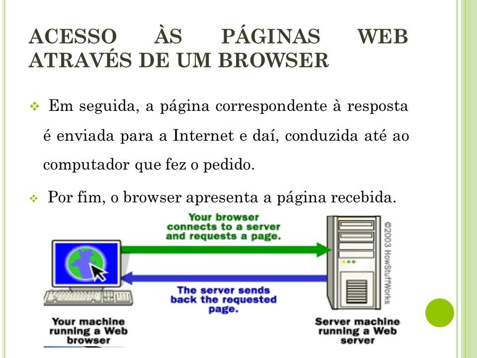 Em seguida, a página correspondente à resposta é enviada para a Internet e daí, conduzida até ao computador que fez o pedido. Por fim, o browser apres