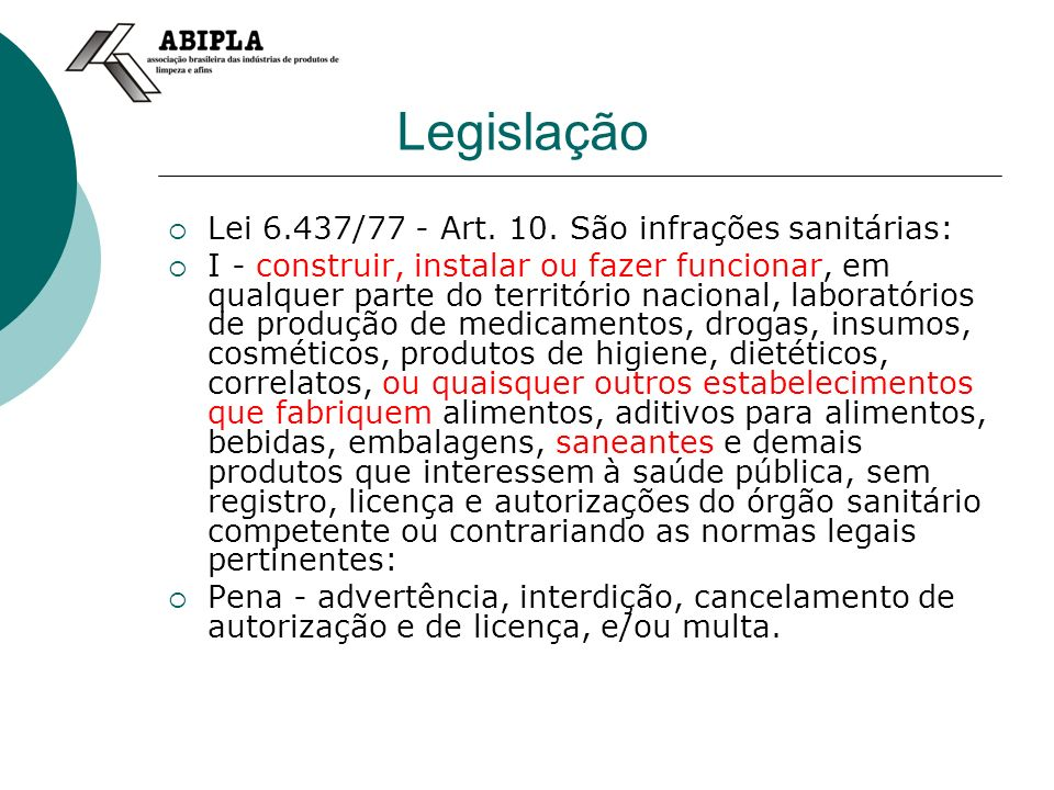 Legislação Lei 6.437/77 - Art.10.