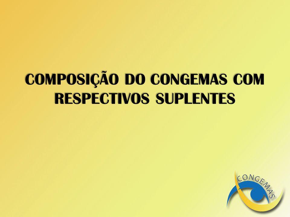 COMPOSIÇÃO DO CONGEMAS COM RESPECTIVOS SUPLENTES