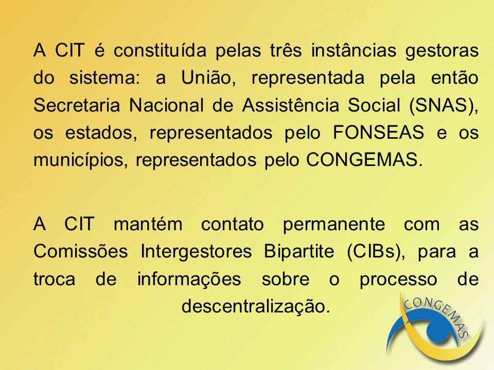 A CIT é constituída pelas três instâncias gestoras do sistema: a União, representada pela então Secretaria Nacional de Assistência Social (SNAS), os e