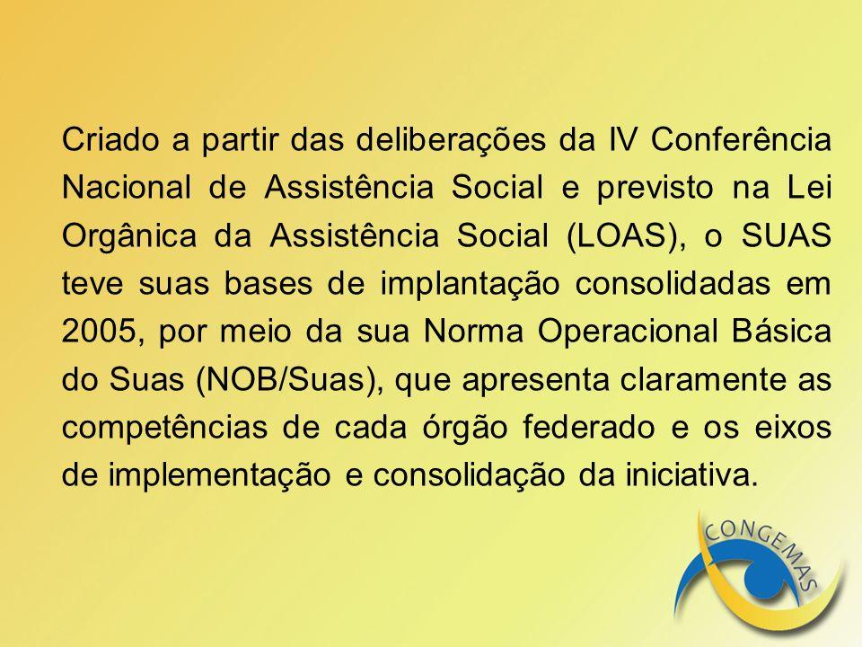 Criado a partir das deliberações da IV Conferência Nacional de Assistência Social e previsto na Lei Orgânica da Assistência Social (LOAS), o SUAS teve