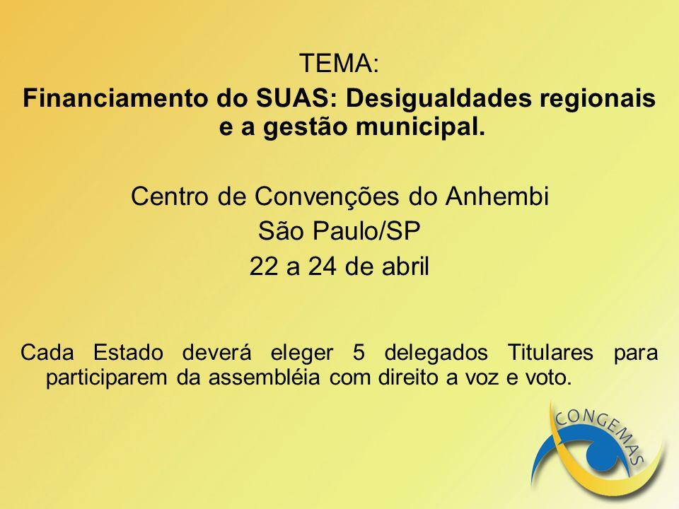 TEMA: Financiamento do SUAS: Desigualdades regionais e a gestão municipal. Centro de Convenções do Anhembi São Paulo/SP 22 a 24 de abril Cada Estado d