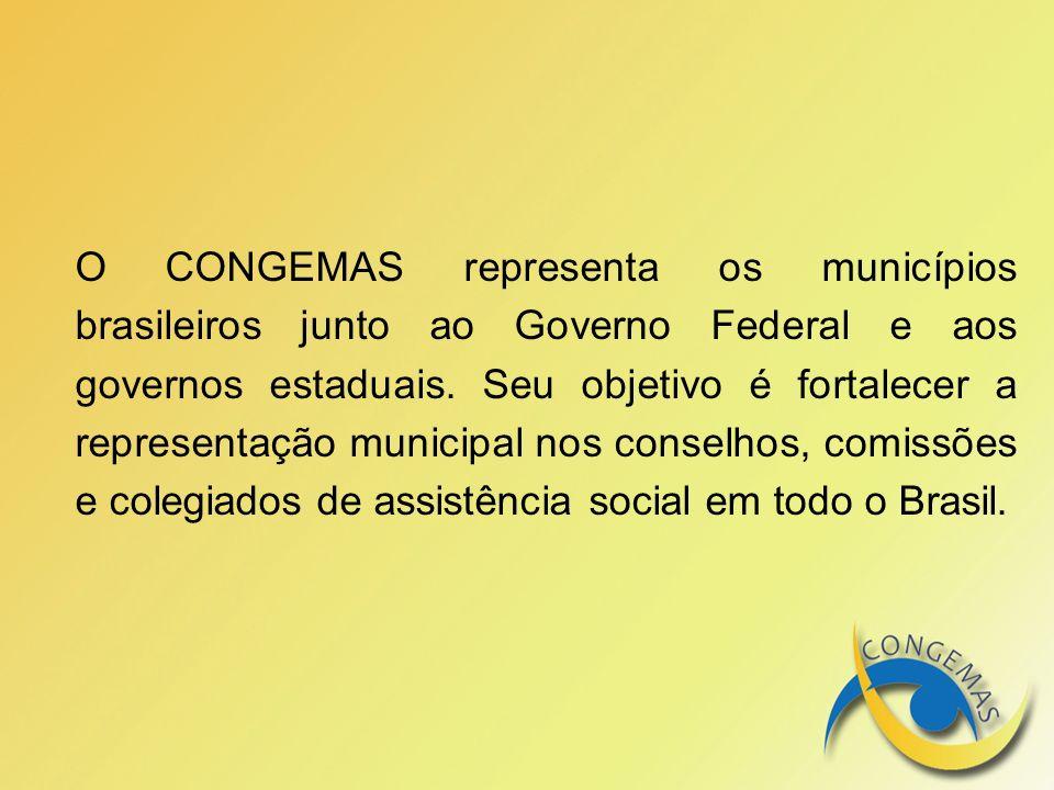 O CONGEMAS representa os municípios brasileiros junto ao Governo Federal e aos governos estaduais. Seu objetivo é fortalecer a representação municipal