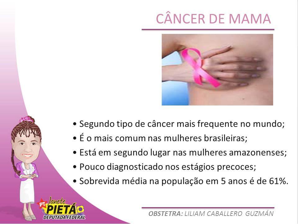 OBSTETRA: LILIAM CABALLERO GUZMÁN CÂNCER DE MAMA Segundo tipo de câncer mais frequente no mundo; É o mais comum nas mulheres brasileiras; Está em segu